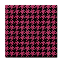 Houndstooth1 Black Marble & Pink Denim Face Towel by trendistuff