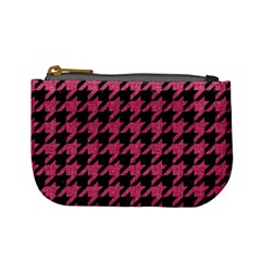 Houndstooth1 Black Marble & Pink Denim Mini Coin Purses by trendistuff