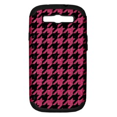 Houndstooth1 Black Marble & Pink Denim Samsung Galaxy S Iii Hardshell Case (pc+silicone) by trendistuff