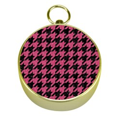 Houndstooth1 Black Marble & Pink Denim Gold Compasses by trendistuff