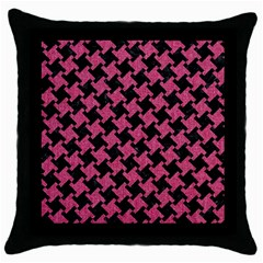 Houndstooth2 Black Marble & Pink Denim Throw Pillow Case (black) by trendistuff