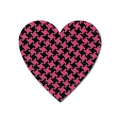 Houndstooth2 Black Marble & Pink Denim Heart Magnet by trendistuff
