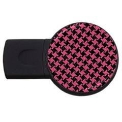 Houndstooth2 Black Marble & Pink Denim Usb Flash Drive Round (4 Gb) by trendistuff