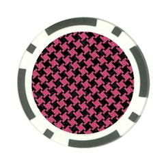 Houndstooth2 Black Marble & Pink Denim Poker Chip Card Guard by trendistuff