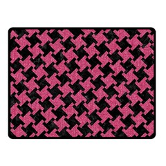 Houndstooth2 Black Marble & Pink Denim Fleece Blanket (small) by trendistuff