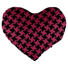 Houndstooth2 Black Marble & Pink Denim Large 19  Premium Heart Shape Cushions by trendistuff