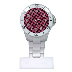 Houndstooth2 Black Marble & Pink Denim Plastic Nurses Watch by trendistuff