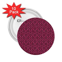 Hexagon1 Black Marble & Pink Denim 2 25  Buttons (10 Pack)  by trendistuff
