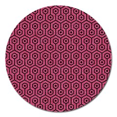 Hexagon1 Black Marble & Pink Denim Magnet 5  (round) by trendistuff