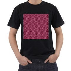 Hexagon1 Black Marble & Pink Denim Men s T Shirt (black) (two Sided) by trendistuff