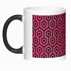 Hexagon1 Black Marble & Pink Denim Morph Mugs by trendistuff
