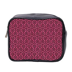 Hexagon1 Black Marble & Pink Denim Mini Toiletries Bag 2 Side by trendistuff