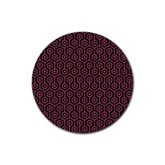 Hexagon1 Black Marble & Pink Denim (r) Rubber Round Coaster (4 Pack)  by trendistuff