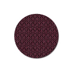 Hexagon1 Black Marble & Pink Denim (r) Magnet 3  (round) by trendistuff