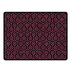 Hexagon1 Black Marble & Pink Denim (r) Double Sided Fleece Blanket (small)  by trendistuff