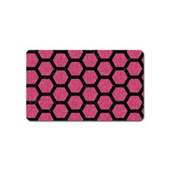 Hexagon2 Black Marble & Pink Denim Magnet (name Card) by trendistuff