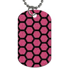 Hexagon2 Black Marble & Pink Denim Dog Tag (two Sides) by trendistuff