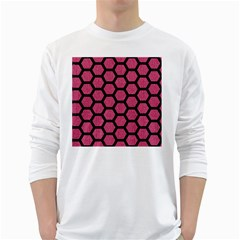 Hexagon2 Black Marble & Pink Denim White Long Sleeve T Shirts by trendistuff