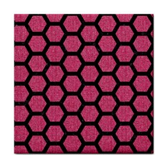 Hexagon2 Black Marble & Pink Denim Face Towel by trendistuff