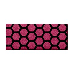 Hexagon2 Black Marble & Pink Denim Cosmetic Storage Cases by trendistuff