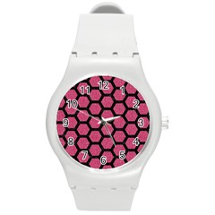 Hexagon2 Black Marble & Pink Denim Round Plastic Sport Watch (m) by trendistuff