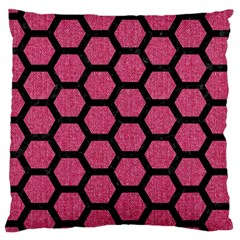 Hexagon2 Black Marble & Pink Denim Large Cushion Case (one Side) by trendistuff