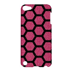 Hexagon2 Black Marble & Pink Denim Apple Ipod Touch 5 Hardshell Case by trendistuff