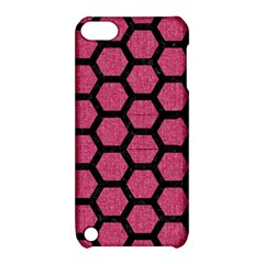 Hexagon2 Black Marble & Pink Denim Apple Ipod Touch 5 Hardshell Case With Stand by trendistuff