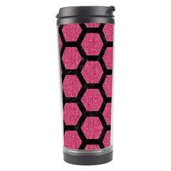 Hexagon2 Black Marble & Pink Denim Travel Tumbler by trendistuff