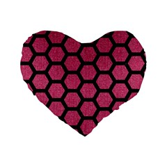 Hexagon2 Black Marble & Pink Denim Standard 16  Premium Flano Heart Shape Cushions by trendistuff