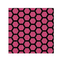 Hexagon2 Black Marble & Pink Denim Small Satin Scarf (square) by trendistuff