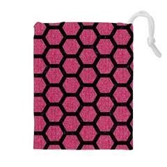 Hexagon2 Black Marble & Pink Denim Drawstring Pouches (extra Large) by trendistuff