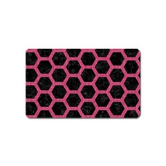 Hexagon2 Black Marble & Pink Denim (r) Magnet (name Card) by trendistuff