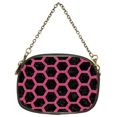 Hexagon2 Black Marble & Pink Denim (r) Chain Purses (one Side)  by trendistuff