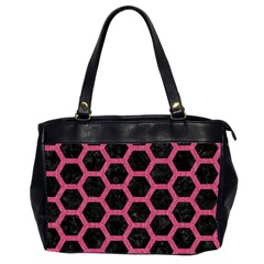 Hexagon2 Black Marble & Pink Denim (r) Office Handbags (2 Sides)  by trendistuff