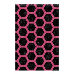 Hexagon2 Black Marble & Pink Denim (r) Shower Curtain 48  X 72  (small)  by trendistuff