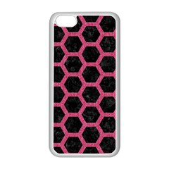 Hexagon2 Black Marble & Pink Denim (r) Apple Iphone 5c Seamless Case (white)