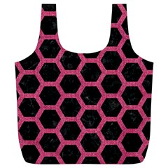Hexagon2 Black Marble & Pink Denim (r) Full Print Recycle Bags (l)  by trendistuff