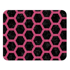 Hexagon2 Black Marble & Pink Denim (r) Double Sided Flano Blanket (large)  by trendistuff