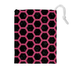 Hexagon2 Black Marble & Pink Denim (r) Drawstring Pouches (extra Large) by trendistuff