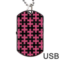 Puzzle1 Black Marble & Pink Denim Dog Tag Usb Flash (two Sides) by trendistuff