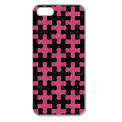 Puzzle1 Black Marble & Pink Denim Apple Seamless Iphone 5 Case (clear) by trendistuff
