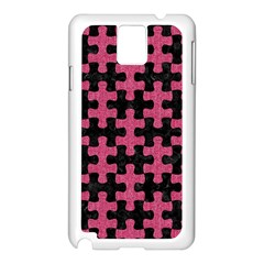 Puzzle1 Black Marble & Pink Denim Samsung Galaxy Note 3 N9005 Case (white)