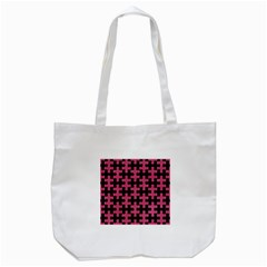 Puzzle1 Black Marble & Pink Denim Tote Bag (white)