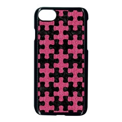 Puzzle1 Black Marble & Pink Denim Apple Iphone 8 Seamless Case (black) by trendistuff
