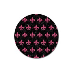 Royal1 Black Marble & Pink Denim Magnet 3  (round) by trendistuff