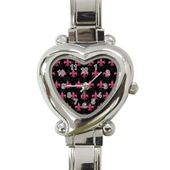 Royal1 Black Marble & Pink Denim Heart Italian Charm Watch by trendistuff