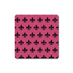 Royal1 Black Marble & Pink Denim (r) Square Magnet by trendistuff