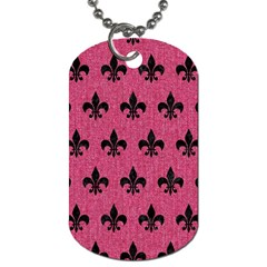 Royal1 Black Marble & Pink Denim (r) Dog Tag (two Sides) by trendistuff