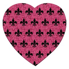 Royal1 Black Marble & Pink Denim (r) Jigsaw Puzzle (heart) by trendistuff